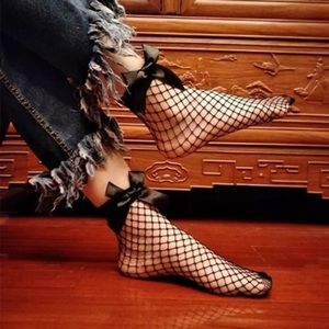 Accessories - Black Fishnet Bow Socks